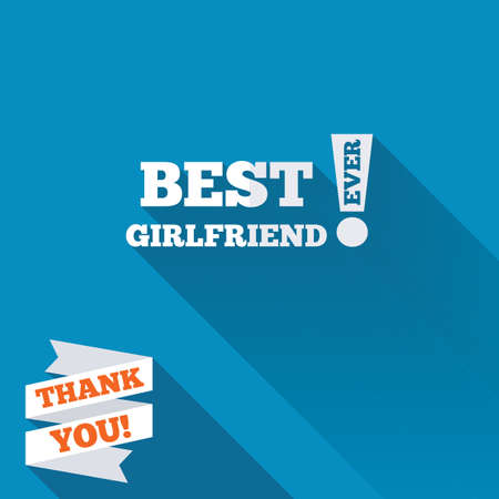 Best girlfriend ever sign icon. Award symbol. Exclamation mark. White flat icon with long shadow. Paper ribbon label with Thank you text. photo