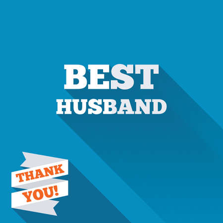 Best husband sign icon. Award symbol. White flat icon with long shadow. Paper ribbon label with Thank you text. photo