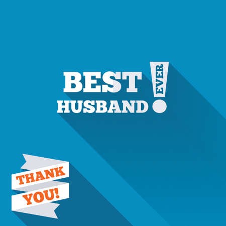 Best husband ever sign icon. Award symbol. Exclamation mark. White flat icon with long shadow. Paper ribbon label with Thank you text. photo