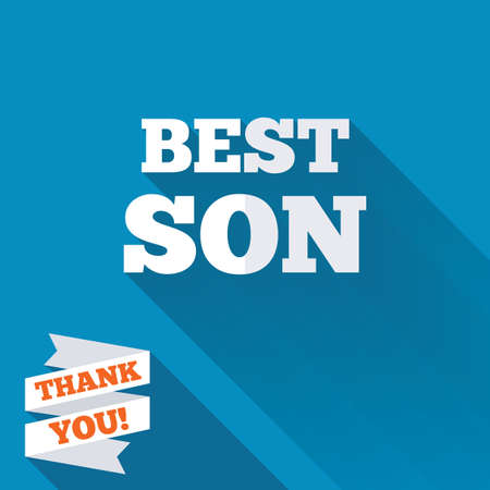 Best son sign icon. Award symbol. White flat icon with long shadow. Paper ribbon label with Thank you text. photo