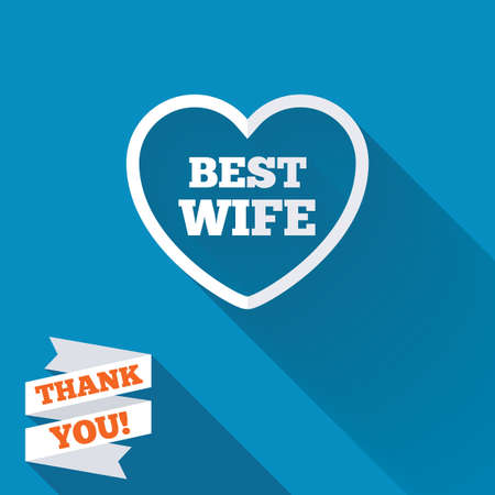 Best wife sign icon. Heart love symbol. White flat icon with long shadow. Paper ribbon label with Thank you text. photo