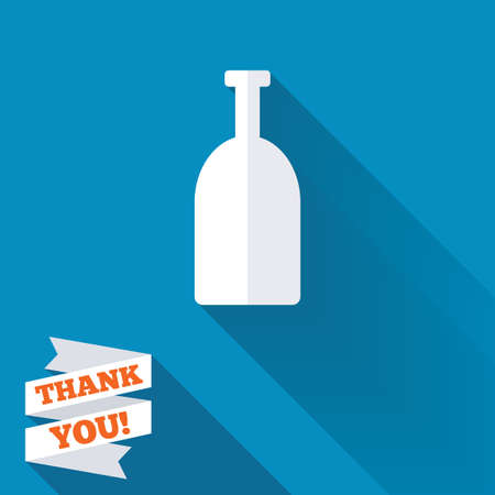 long drink: Alcohol sign icon. Drink symbol. Bottle. White flat icon with long shadow. Paper ribbon label with Thank you text. Stock Photo