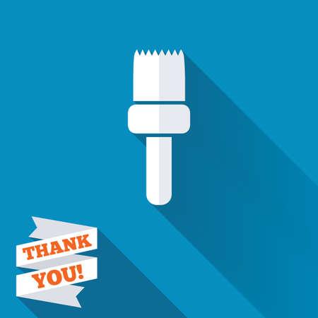 decorator: Paint brush sign icon. Artist symbol. White flat icon with long shadow. Paper ribbon label with Thank you text.