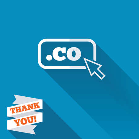 co: Domain CO sign icon. Top-level internet domain symbol with cursor pointer. White flat icon with long shadow. Paper ribbon label with Thank you text. Stock Photo