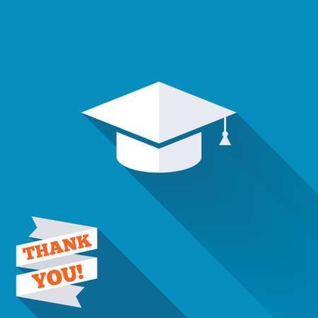 higher quality: Graduation cap sign icon. Higher education symbol. White flat icon with long shadow. Paper ribbon label with Thank you text.