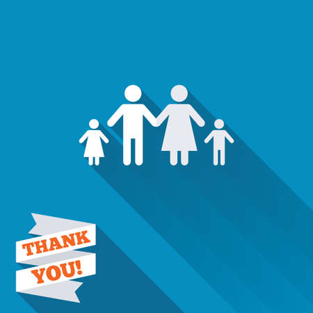 Family with two children sign icon. Complete family symbol. White flat icon with long shadow. Paper ribbon label with Thank you text.