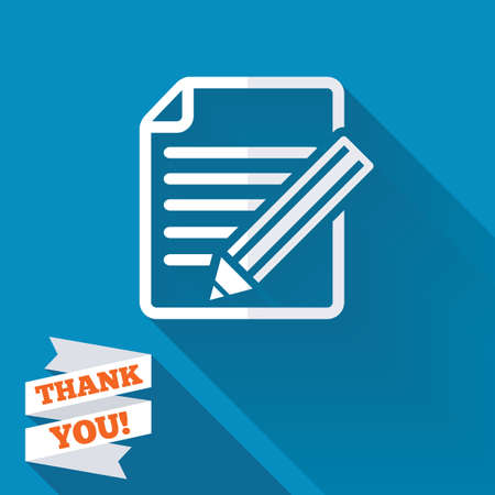 Edit document sign icon. Edit content button. White flat icon with long shadow. Paper ribbon label with Thank you text. photo