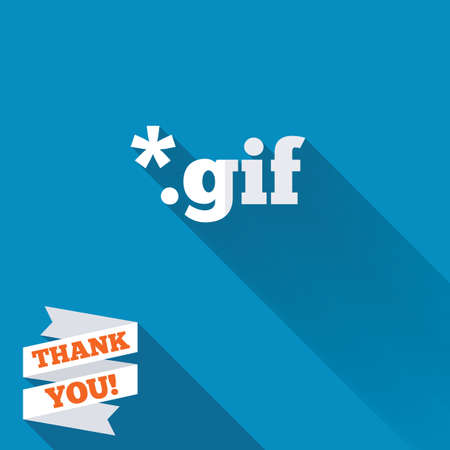 File GIF sign icon. Download image file symbol. White flat icon with long shadow. Paper ribbon label with Thank you text. Stock Photo