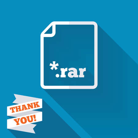 rar: Archive file icon. Download compressed file button. RAR zipped file extension symbol. White flat icon with long shadow. Paper ribbon label with Thank you text.