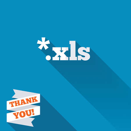 Excel file document icon. Download xls button. XLS file extension symbol. White flat icon with long shadow. Paper ribbon label with Thank you text.