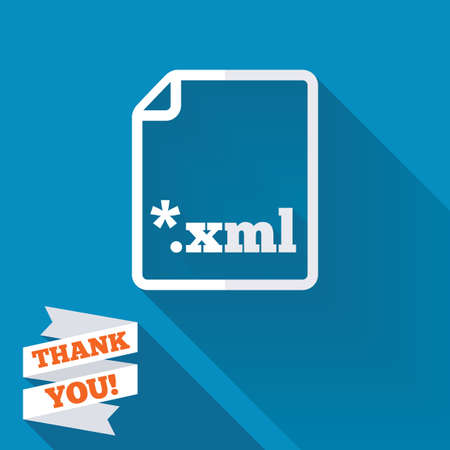 markup: File document icon. Download XML button. XML file extension symbol. White flat icon with long shadow. Paper ribbon label with Thank you text.