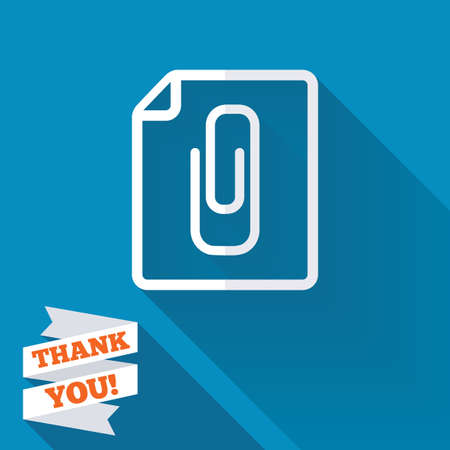 paper  clip: File annex icon. Paper clip symbol. Attach symbol. White flat icon with long shadow. Paper ribbon label with Thank you text.