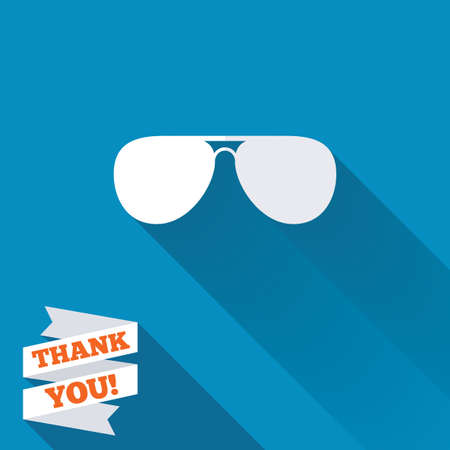 sunglasses: Aviator sunglasses sign icon. Pilot glasses button. White flat icon with long shadow. Paper ribbon label with Thank you text. Stock Photo