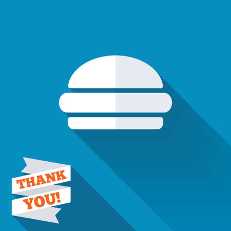 Hamburger sign icon. Fast food symbol. Junk food. White flat icon with long shadow. Paper ribbon label with Thank you text. photo