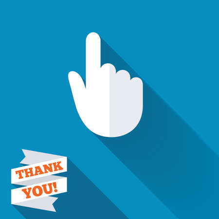 hand position: Hand cursor sign icon. Hand pointer symbol. White flat icon with long shadow. Paper ribbon label with Thank you text.