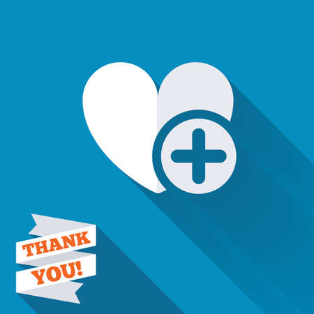 Heart sign icon. Add lover symbol. Plus love. White flat icon with long shadow. Paper ribbon label with Thank you text. photo