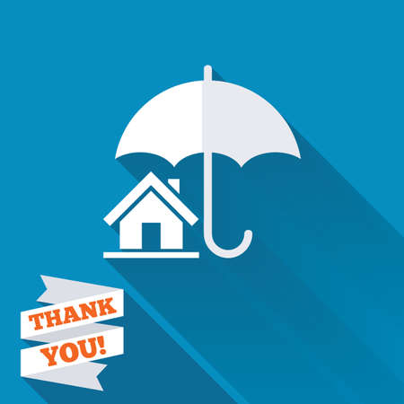 Home insurance sign icon. Real estate insurance symbol. White flat icon with long shadow. Paper ribbon label with Thank you text. photo