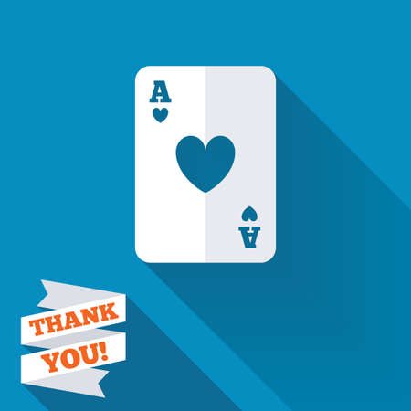 Casino sign icon. Playing card symbol. Ace of hearts. White flat icon with long shadow. Paper ribbon label with Thank you text. photo