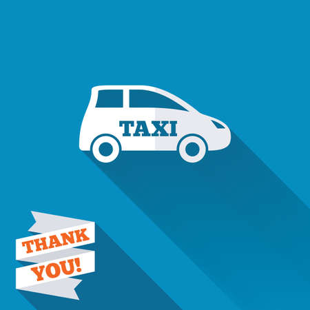 hatchback: Taxi car sign icon. Hatchback symbol. Transport. White flat icon with long shadow. Paper ribbon label with Thank you text. Stock Photo