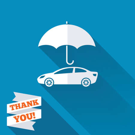 insurance concepts: Car insurance sign icon. Protection symbol. White flat icon with long shadow. Paper ribbon label with Thank you text. Stock Photo