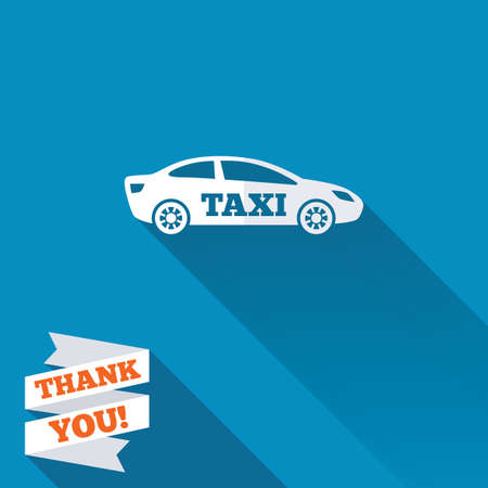 Taxi car sign icon. Sedan saloon symbol. Transport. White flat icon with long shadow. Paper ribbon label with Thank you text. photo