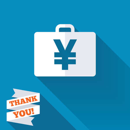 paper case: Case with Yen JPY sign icon. Briefcase button. White flat icon with long shadow. Paper ribbon label with Thank you text. Stock Photo