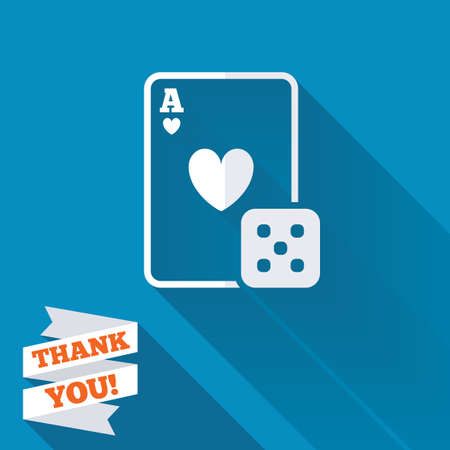 Casino sign icon. Playing card with dice symbol. White flat icon with long shadow. Paper ribbon label with Thank you text. photo