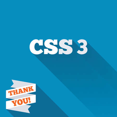 CSS3 sign icon. Cascading Style Sheets symbol. White flat icon with long shadow. Paper ribbon label with Thank you text. photo