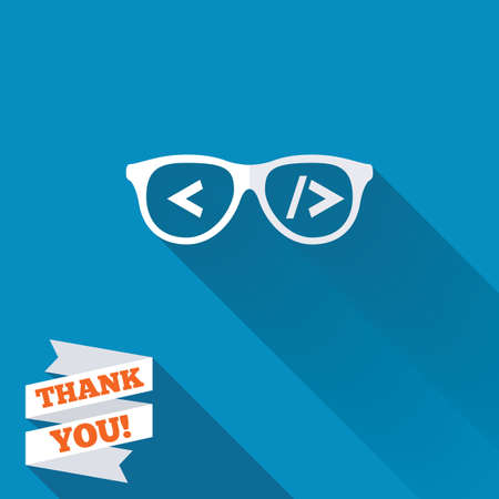 coder: Coder sign icon. Programmer symbol. Glasses icon. White flat icon with long shadow. Paper ribbon label with Thank you text.
