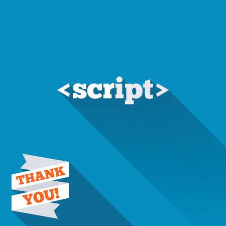 javascript: Icono de se�al de secuencias de comandos. S�mbolo de c�digo Javascript. Blanco icono plana con una larga sombra. Etiqueta de la cinta de papel con el texto de agradecimiento.