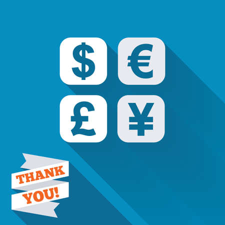 currency converter: Currency exchange sign icon. Currency converter symbol. Money label. White flat icon with long shadow. Paper ribbon label with Thank you text.