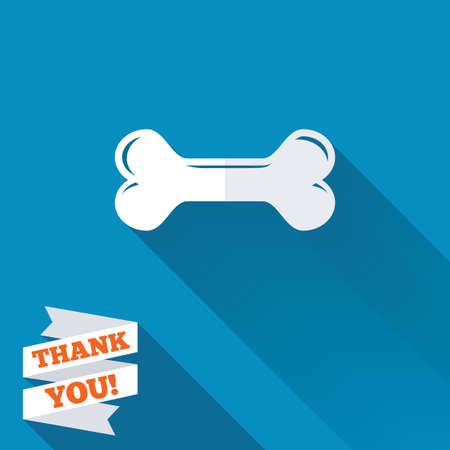 Dog bone sign icon. Pets food symbol. White flat icon with long shadow. Paper ribbon label with Thank you text. photo