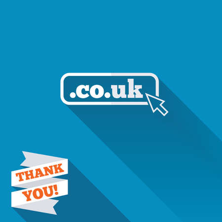 subdomain: Domain CO.UK sign icon. UK internet subdomain symbol with cursor pointer. White flat icon with long shadow. Paper ribbon label with Thank you text. Stock Photo