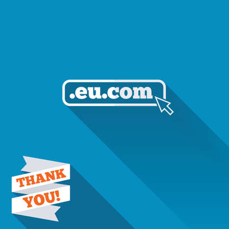 subdomain: Domain EU.COM sign icon. Internet subdomain symbol with cursor pointer. White flat icon with long shadow. Paper ribbon label with Thank you text. Stock Photo