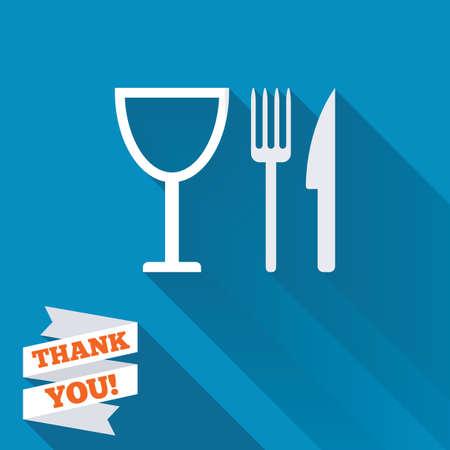 記号アイコンを食べる。カトラリーのシンボル。ナイフ、フォーク、ワイングラス。長い影のついた白いフラット アイコン。紙リボンありがとうテ