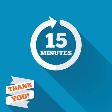 Every 15 minutes sign icon. Full rotation arrow symbol. White flat icon with long shadow. Paper ribbon label with Thank you text. photo
