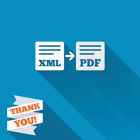 xml: Export XML to PDF icon. File document symbol. White flat icon with long shadow. Paper ribbon label with Thank you text.