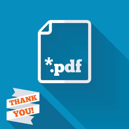 PDF file document icon. Download pdf button. PDF file extension symbol. White flat icon with long shadow. Paper ribbon label with Thank you text. photo