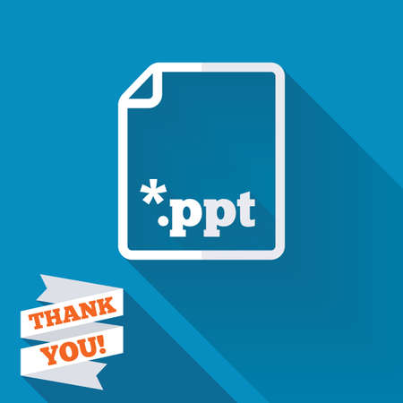ppt: File presentation icon. Download PPT button. PPT file extension symbol. White flat icon with long shadow. Paper ribbon label with Thank you text. Stock Photo