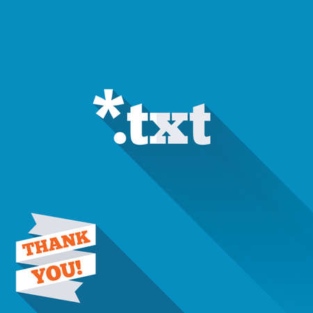 txt: Text file icon. Download txt doc button. Txt file extension symbol. White flat icon with long shadow. Paper ribbon label with Thank you text. Stock Photo