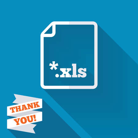 xls: Excel file document icon. Download xls button. XLS file extension symbol. White flat icon with long shadow. Paper ribbon label with Thank you text.