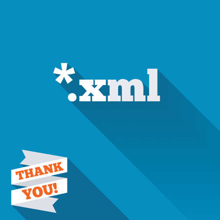 File document icon. Download XML button. XML file extension symbol. White flat icon with long shadow. Paper ribbon label with Thank you text.