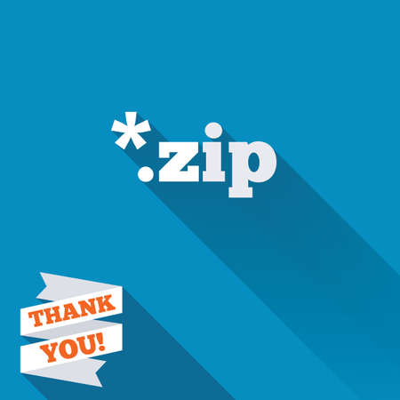 Archive file icon. Download compressed file button. ZIP zipped file extension symbol. White flat icon with long shadow. Paper ribbon label with Thank you text. photo