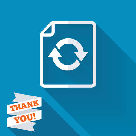 File document refresh icon. Reload doc symbol. White flat icon with long shadow. Paper ribbon label with Thank you text. photo