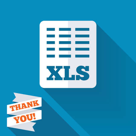 excel: Excel file document icon. Download xls button. XLS file symbol. White flat icon with long shadow. Paper ribbon label with Thank you text. Stock Photo