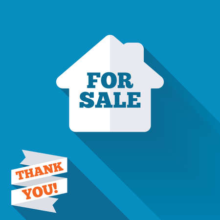 For sale sign icon. Real estate selling. White flat icon with long shadow. Paper ribbon label with Thank you text. photo