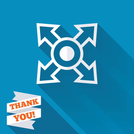 Fullscreen sign icon. Arrows symbol. Icon for App. White flat icon with long shadow. Paper ribbon label with Thank you text. photo