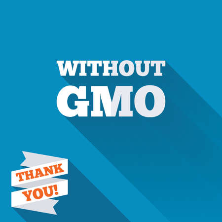 modified: No GMO sign icon. Without Genetically modified food. Stop GMO. White flat icon with long shadow. Paper ribbon label with Thank you text.