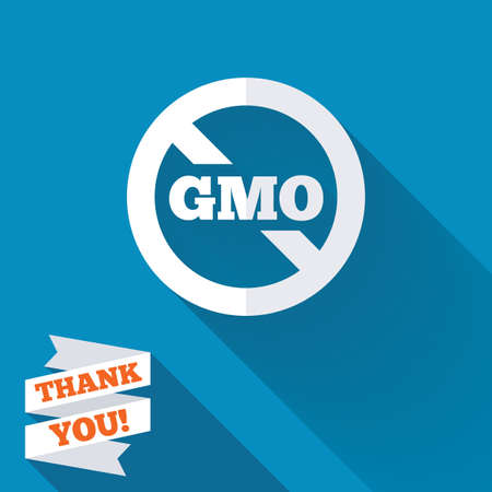 No GMO sign icon. Without Genetically modified food. Stop GMO. White flat icon with long shadow. Paper ribbon label with Thank you text. photo