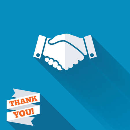 blue you: Handshake sign icon. Successful business symbol. White flat icon with long shadow. Paper ribbon label with Thank you text. Stock Photo